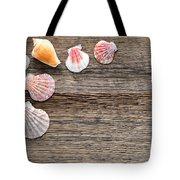 Seashells On Wood Tote Bag