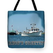 Season's Greetings Holiday Card - Boats In Peaceful Harbor Tote Bag