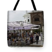 Seated Devotees Inside The Golden Temple Tote Bag