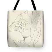 Seated Female Nude With Open Blouse Tote Bag