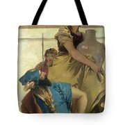 Seated Man Woman With Jar And Boy Tote Bag
