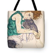 Seated Woman With Legs Drawn Up. Adele Herms Tote Bag