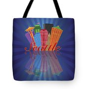 Seattle Abstract Skyline Reflection Background Illustration Tote Bag