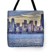 Seattle At Twilight From Alki Beach Tote Bag