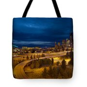 Seattle City Skyline At Blue Hour Tote Bag