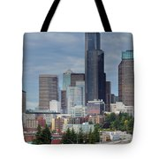 Seattle City Skyline At Rush Hour Tote Bag