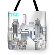 Seattle City With Print Tote Bag
