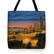 Seattle Cityscape After Sunset Tote Bag