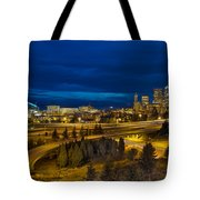 Seattle Downtown Skyline And Freeway At Twilight Tote Bag