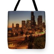Seattle Downtown Skyline At Dusk Tote Bag