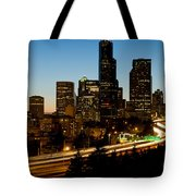 Seattle Downtown Skyline Evening View Tote Bag