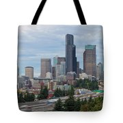 Seattle Downtown Skyline On A Cloudy Day Tote Bag