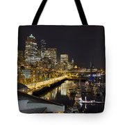 Seattle Downtown Skyline Waterfront Marina Tote Bag