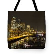 Seattle Downtown Waterfront Skyline At Night Reflection Tote Bag