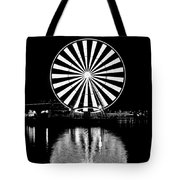 Seattle Great Wheel Black And White Tote Bag