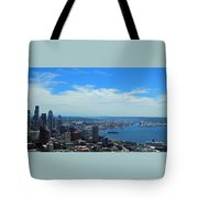 Seattle Harbor And Mt Rainier From Space Needle Tote Bag