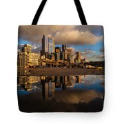 Seattle Pier Sunset Clouds Tote Bag