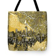 Seattle Skyline Abstract 2 Tote Bag