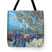 Seattle Skyline Abstract 7 Tote Bag