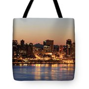 Seattle Skyline At Dawn Along Puget Sound Tote Bag