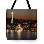 Seattle Skyline At Night By The Pier Panorama Tote Bag