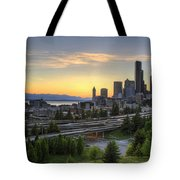 Seattle Skyline At Sunset Tote Bag