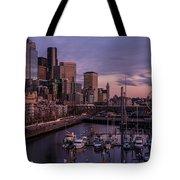 Seattle Skyline Bell Harbor Dusk Tote Bag