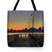 Seattle Skyline From The Pier At Sunrise Tote Bag