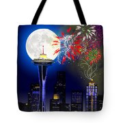 Seattle Skyline Tote Bag by Methune Hively