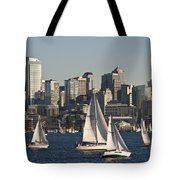 Seattle Skyline With Sailboats Tote Bag