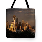 Seattle Skyline With Space Needle And Stormy Weather Tote Bag