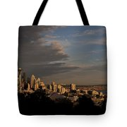 Seattle Skyline With Space Needle And Stormy Weather With Mount  Tote Bag