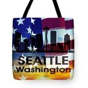 Seattle Wa Patriotic Large Cityscape Tote Bag