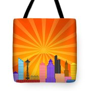 Seattle Washington City Skyline Panorama Tote Bag
