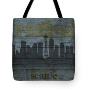 Seattle Washington City Skyline Silhouette Distressed On Worn Peeling Wood Tote Bag