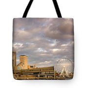 Seattle Waterfront Bathed In Golden Hour - Seattle Skyline - Puget Sound Washington State Tote Bag