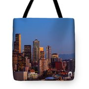 Seattle Winter Evening Panorama Tote Bag