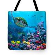 Secret Sanctuary - Hawaiian Green Sea Turtle And Reef Tote Bag