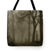 A Graveyard Seeped In Fog Tote Bag