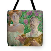 Self-portrait With Muse And Buddleia Tote Bag