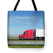 Semi Truck Moving On The Highway Tote Bag
