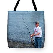 Senior Caught A Pollock In Kachemak Bay Off Homer Spit-alaska Tote Bag