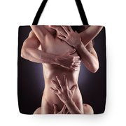 Sensual Photo Of Male Hands Embracing A Woman Tote Bag