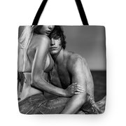 Sensual Portrait Of A Young Couple On The Beach Black And White Tote Bag