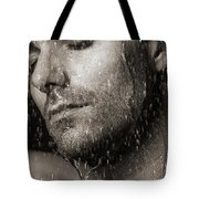 Sensual Portrait Of Man Face Under Pouring Water Black And White Tote Bag