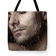 Sensual Portrait Of Man Face Under Pouring Water Tote Bag