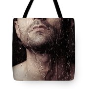 Sensual Portrait Of Man Face Under Shower Tote Bag