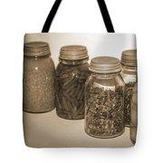 Sephia Vintage Kitchen Glass Jar Canning Tote Bag