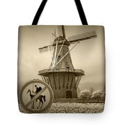 Sepia Colored No Tilting At Windmills Tote Bag