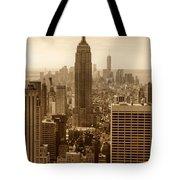 Sepia Empire State Building New York City Tote Bag